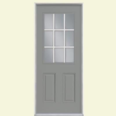 36 in. x 80 in. 9 Lite Painted Smooth Fiberglass Prehung Front Door with No Brickmold