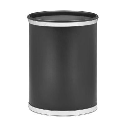 Sophisticates Black with Polished Chrome Trash Can with Chrome Bands and Black Bumper