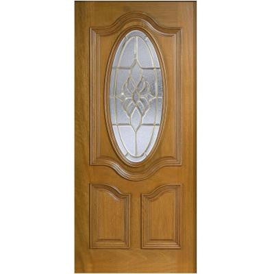 36 in. x 80 in. Mahogany Type 3/4 Oval Glass Prefinished Golden Oak Beveled Brass Solid Wood Front Door Slab
