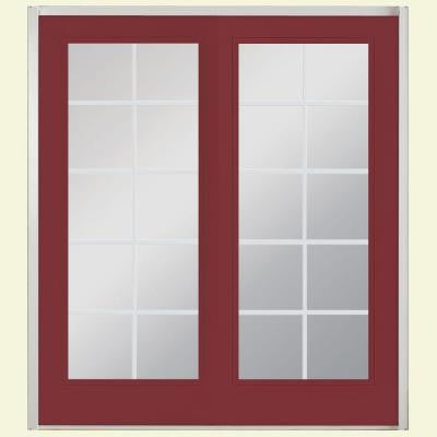 72 in. x 80 in. Red Bluff Prehung Left-Hand Inswing 10 Lite Fiberglass Patio Door with No Brickmold
