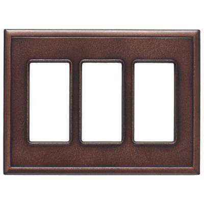 Decor 3 Gang 3 Combination Screwless Metal Wall Plate - Oil Rubbed Bronze