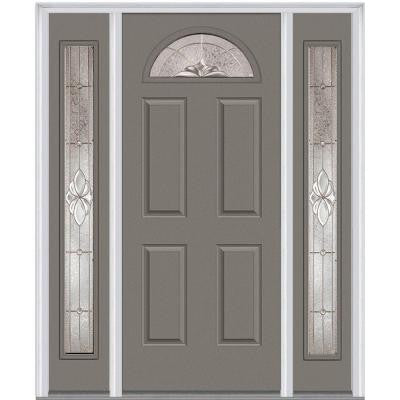 60 in. x 80 in. Heirloom Master Decorative Glass 1/4 Lite Painted Fiberglass Smooth Prehung Front Door with Sidelites