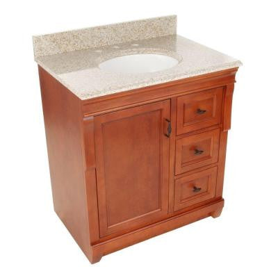 Naples 31 in. W x 22 in. D Vanity with Right Drawers in Warm Cinnamon with Granite Vanity Top in Beige