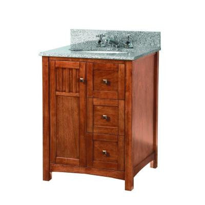 Knoxville 25 in. W x 22 in. D Vanity in Nutmeg with Granite Vanity Top in Rushmore Grey with White Basin