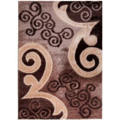 Casa Regina Collection Contemporary Scrolls Design Brown 7 ft. 10 in. x 9 ft. 10 in. Area Rug