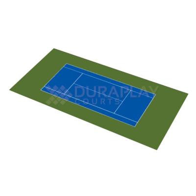 59 ft. 1 in. x 119 ft. 10 in. Royal Blue and Olive Green Full Tennis Court