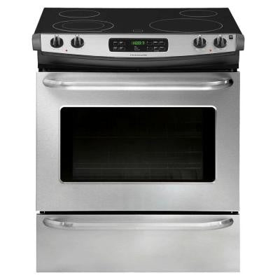 30 in. 4.6 cu. ft. Slide-In Smoothtop Electric Range with Self-Cleaning Oven in Stainless Steel