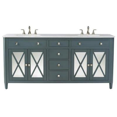 Barcelona 73 in. Vanity in Teal Blue with China White Marble Top and Under-Mount Sink