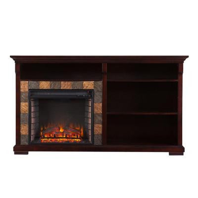 Homer 62 in. Freestanding Bookshelf Electric Fireplace in Espresso