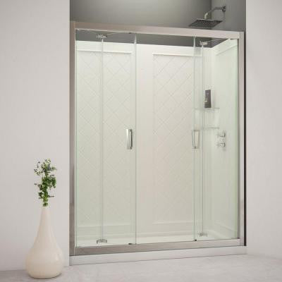 Butterfly 60 in. x 76-3/4 in. Bi-Fold Trackless Shower Door in Chrome with Shower Base and Back Wall Kit