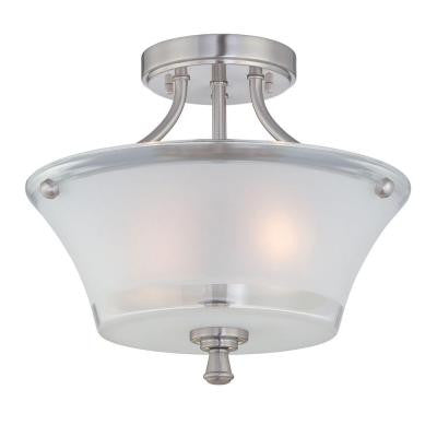 2-Light Steel Semi-Flush Mount Light with Frost Glass