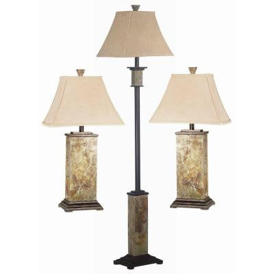 Bennington Natural Slate 2 Table and 1 Floor Lamp Set