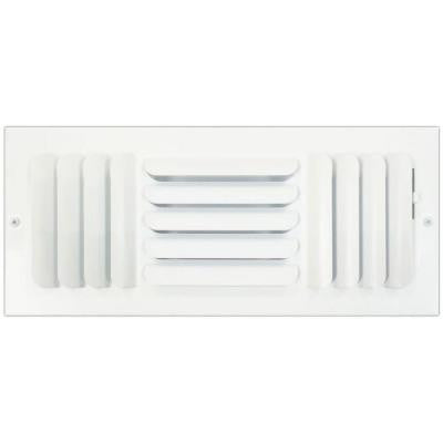 4 in. x 14 in. Ceiling or Wall Register with Curved 3-Way Deflection, White