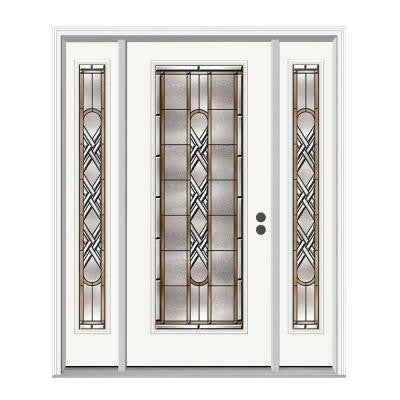 36 in. x 80 in. Ascot Full Lite Primed Premium Steel Prehung Front Door with Sidelites