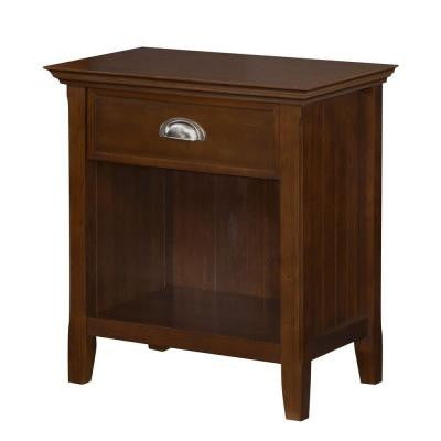 Acadian Rectangular Pine Wood Nightstand in Tobacco Brown