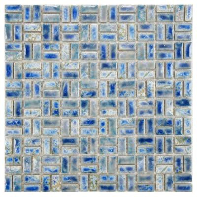 Rustica Weave Neptune Blue 12 in. x 12 in. x 6 mm Porcelain Mosaic Floor and Wall Tile