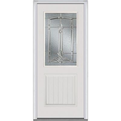 36 in. x 80 in. Bristol Decorative Glass 1/2 Lite 1-Planked-Panel Primed White Fiberglass Smooth Prehung Front Door