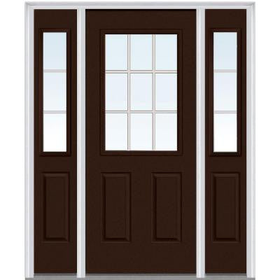 60 in. x 80 in. Classic Clear Glass GBG 1/2-Lite Painted Fiberglass Smooth Prehung Front Door with Sidelites