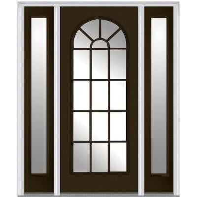 64 in. x 80 in. Classic Clear Glass Round Top Full Lite Painted Fiberglass Smooth Prehung Front Door with Sidelites