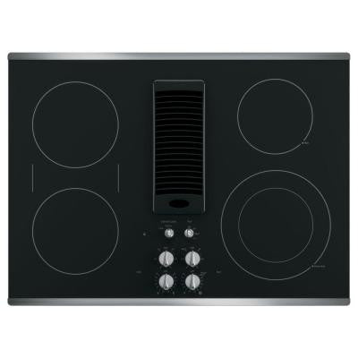 Profile 30 in. Radiant Electric Downdraft Cooktop in Stainless Steel with 4 Elements including Power Boil