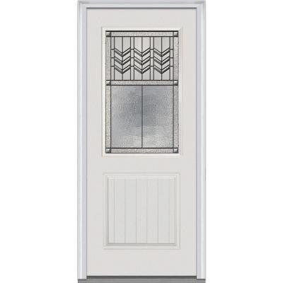 32 in. x 80 in. Prairie Bevel Decorative Glass 1/2 Lite 1-Planked Panel Primed Fiberglass Smooth Prehung Front Door