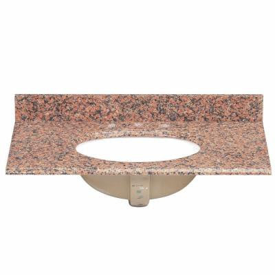 37 in. Granite Vanity Top in Terra Cotta with White Bowl