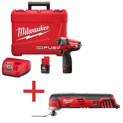 M12 FUEL 12-Volt Lithium-Ion Brushless 1/4 in. Cordless Impact Wrench Kit with M12 Cordless Multi-Tool (Tool-Only)