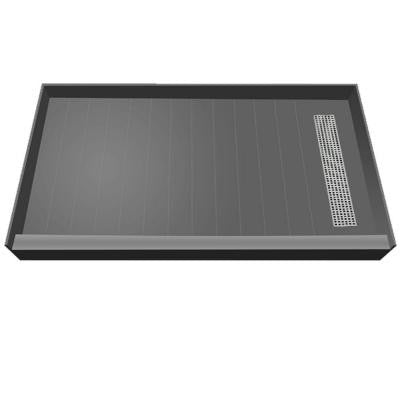 36 in. x 42 in. Single Threshold Shower Base with Right Drain and Polished Chrome Trench Grate
