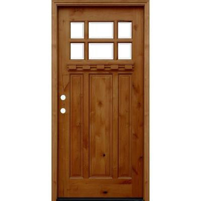 36 in. x 80 in. Craftsman Rustic 6 Lite Stained Knotty Alder Wood Prehung Front Door with Dentil Shelf