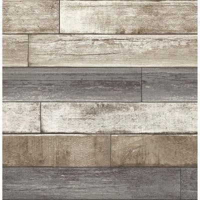 8 in. W x 10 in. H Grey Weathered Plank Wood Texture Wallpaper Sample