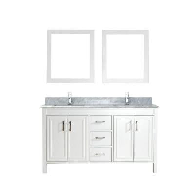 Dawlish 60 in. Vanity in White with Marble Vanity Top in Carrara White and Mirror