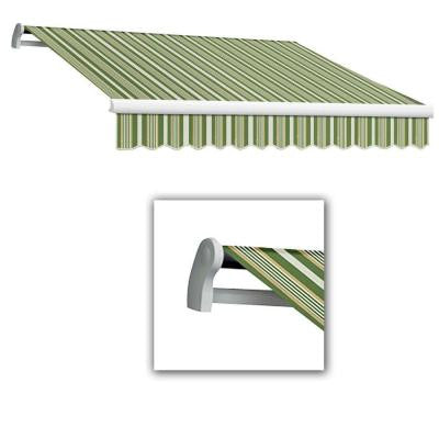 8 ft. LX-Maui Right Motor with Remote Retractable Acrylic Awning (84 in. Projection) in Forest/Gray Multi