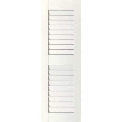 18 in. x 58 in. Exterior Real Wood Pine Louvered Shutters Pair Primed