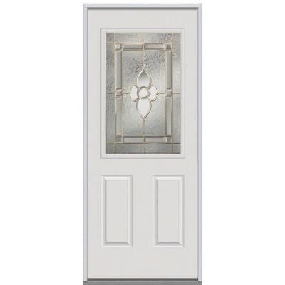 36 in. x 80 in. Master Nouveau Decorative Glass 1/2 Lite 2-Panel Primed White Steel Replacement Prehung Front Door