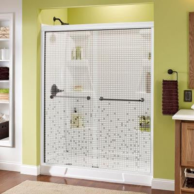 Mandara 59-3/8 in. x 70 in. Sliding Shower Door in White with Bronze Hardware and Semi-Framed Mosaic Glass