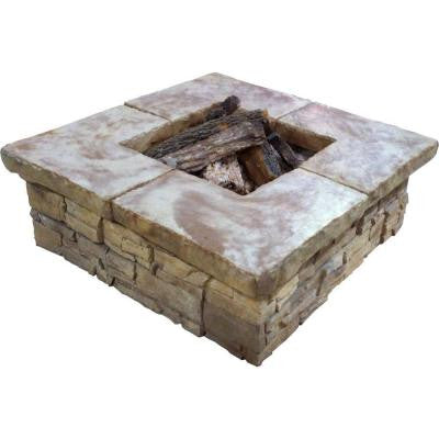Telluride 44 in. Square Stacked Stone Fire Pit