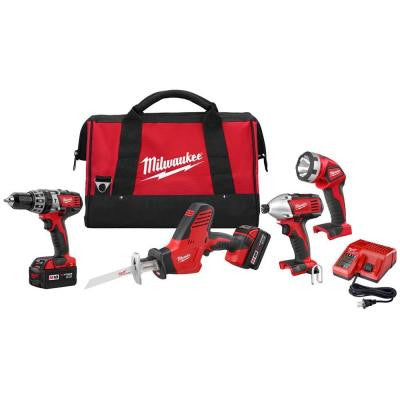 M18 18-Volt Lithium-Ion Cordless Hammer Drill/HACKZALL/Impact Driver/Light Combo Kit (4-Tool)