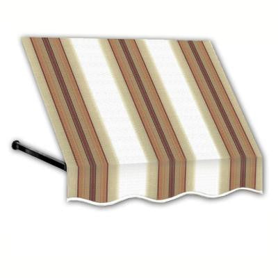 18 ft. Dallas Retro Window/Entry Awning (44 in. H x 24 in. D) in White/Linen/Terra cotta Stripe
