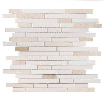 Butter Cream 11-1/2 in. x 11-7/8 in. x 8 mm Ceramic Mosaic Tile