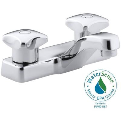 Triton 4 in. Centerset 2-Handle Low-Arc Bathroom Faucet in Polished Chrome with Standard Handle