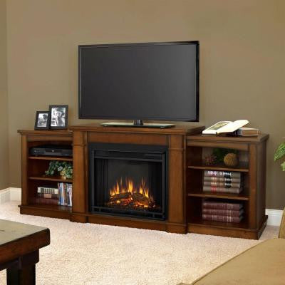 Hawthorne 75 in. Media Console Electric Fireplace in Burnished Oak