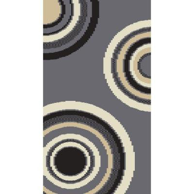 Circlets Silver/Black 20 in. x 36 in. Shag Scatter