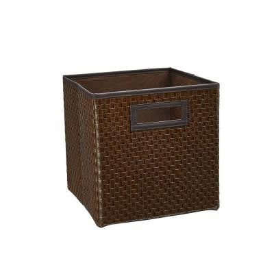 10.5 in. x 11 in. x 10.5 in. Brown Faux Leather Cross Weave Storage Drawer