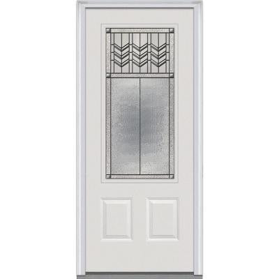 36 in. x 80 in. Prairie Bevel Decorative Glass 3/4 Lite 2-Panel Primed White Fiberglass Smooth Prehung Front Door