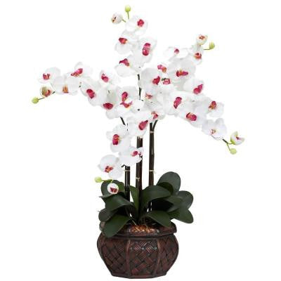 31 in. H White Phalaenopsis with Decorative Vase Silk Flower Arrangement
