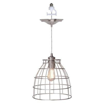 1-Light Brushed Nickel Instant Pendant Conversion Kit and Cage Shade