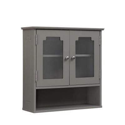 23.625 in. W x 7.875 in. D x 31.625 in. H Wall Cabinet with 2-Glass Doors in Modern Gray
