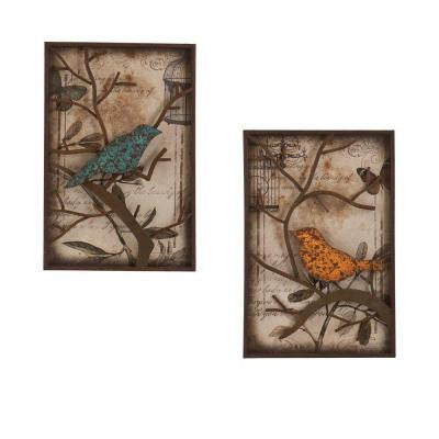 16 in. x 24 in. Bird Decorative Wall Panel Set (2-Piece)