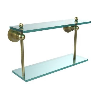 Astor Place Collection 16 in. W x 16 in. L 2-Tiered Glass Shelf in Satin Brass