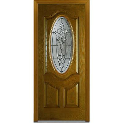 36 in. x 80 in. Fontainebleau Decorative Glass 3/4 Oval Lite 2-Panel Finished Oak Fiberglass Prehung Front Door